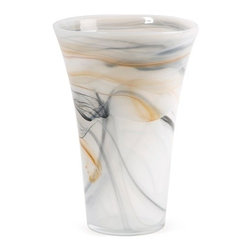 "IMAX - Anya Glass Vase - Like an extensive white sandy beach or rolling clouds before a storm, the Anya glass vase features white glass with sand colored tones and grays in a swirl pattern. Item Dimensions: (12""h x 8""d)"
