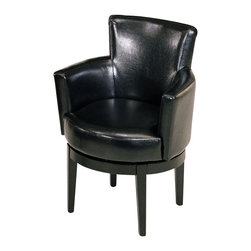 Armen Living - Armen Living Swivel Leather Club Chair in Black - Armen Living - Club Chairs - LC247ARSWBL - 360 degree swivel all leather club chair with Pireeli webbing thick padding and California Fire Retardant rated.