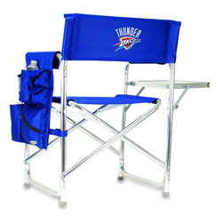 """Picnic Time - Oklahoma City Thunder Sports Chair in Navy - The Sports Chair by Picnic Time is the ultimate spectator chair! It's a lightweight, portable folding chair with a sturdy aluminum frame that has an adjustable shoulder strap for easy carrying. If you prefer not to use the shoulder strap, the chair also has two sturdy webbing handles that come into view when the chair is folded. The extra-wide seat (19.5"""") is made of durable 600D polyester with padding for extra comfort. The armrests are also padded for optimal comfort. On the side of the chair is a 600D polyester accessories panel that includes a variety of pockets to hold such items as your cell phone, sunglasses, magazines, or a scorekeeper's pad. It also includes an insulated bottled beverage pouch and a zippered security pocket to keep valuables out of plain view. A convenient side table folds out to hold food or drinks (up to 10 lbs.). Maximum weight capacity for the chair is 300 lbs. The Sports Chair makes a perfect gift for those who enjoy spectator sports, RVing, and camping.; Decoration: Digital Print; Includes: 1 detachable polyester armrest caddy with a variety of storage pockets designed to hold the accessories you use most"""