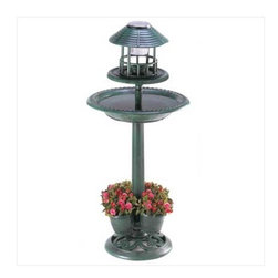 Verdigris Garden Centerpiece - So multi-functional, this Verdigris Garden Centerpiece is a birdbath, solar light and a planter, in addition to being a beautiful focal point for any garden.