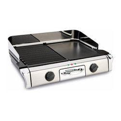 """All-Clad - All-Clad Electric Grill/Griddle - This electric grill/griddle features removable die-cast aluminum grill and griddle plates, so it can be used as a full grill or half grill/half griddle to prepare a wide range of meals. Whether you're grilling vegetables for dinner or making pancakes for breakfast, the removable grill and griddle plates make this an essential kitchen appliance. The 1700-watt grill/griddle and embedded heating elements provides efficient and even heating, while the wide temperature range and two independent thermostats allow you to control the heat for both sides of the cooking surface. The wide temperature range offers options from """"keep warm"""" (180F) to """"sear"""" (450F). Removable, dishwasher-safe parts cut down your cleanup time in the kitchen and the stainless steel finish makes this grill/griddle an attractive addition to your countertop."""