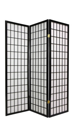 Oriental Unlimited - 5 ft. Tall Window Pane Shoji Screen (3 Panels / Honey) - Finish: 3 Panels / HoneyScreens may vary slightly in color. The new 60 in. window pane Shoji screen is a smaller counterpart to our popular full size window pane Shoji screen. The low height is perfect for hiding unsightly areas, fireplaces, kids' play areas or simply for adding a new design element to your space. The window pane design is the most traditional of shoji screens and complements a variety of decors. Shade is strong. Fiber reinforced, pressed pulp rice paper allows diffused light and provides complete privacy. Crafted from durable and lightweight Scandinavian Spruce. Panels are constructed using Asian style mortise and tenon joinery. Lacquered brass, 2-way hinges mean you can bend the panels in either direction. Black finish. Fully assembled. Each panel: approximately 17.5 in. L x .75 in. W x 59.5 in. H