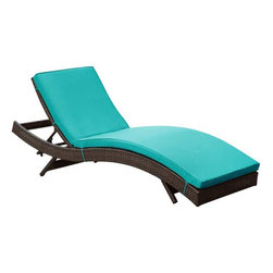 Modway - Peer Chaise in Brown Turquoise - Don't let moments of relaxation elude you. Peer is a serenely pleasant piece comprised of all-weather cushions and a rattan base. Perfect for use by pools and patio areas, chart the waters of your imagination as you recline either for a nap, good read, or simple breaths of fresh air. Moments of personal discovery await with this chaise lounge that has fold away legs for easy storage or stackability with other Peer lounges.