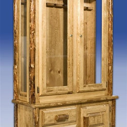 "Montana Woodworks - Glacier Country Gun Cabinet - Handcrafted. Lodge pole accents and pulls. Cabinet holds eight rifles or shotguns. Protected by lock and key. Two small drawers. Storage area behind a raised panel door. Third door that easily holds your ammo and other sporting essentials. 20 years limited warranty. Made from solid American grown pine. Hand-crafted in the US, each Montana Woodwork product is made from unprocessed, solid wood that highlights the character of its source tree with unique knots and grains. Made in USA. No assembly required. 42 in. W x 17 in. D x 72 in. HShowcase your favorite rifles and shotguns in this elegantly handcrafted cabinet that is sure to have your fellow sportsmen envious.  What better way to store your prized firearms than have them embraced by the timeless beauty of lodge pole pine, while still being able to view  them through the glass. Finished in the ""Glacier Country"" collection style for a truly unique, one-of-a-kind look reminiscent  of the Grand Lodges of the Rockies, circa 1900. First we remove the outer bark while leaving the inner, cambium layer intact for texture and   contrast. Then the finish is completed in an eight step, professional spraying process that applies stain and lacquer for a beautiful, long lasting finish."