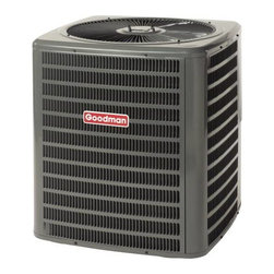 GOODMAN - GOODMAN 13 SEER R410A AIR CONDITIONER 2.0 TON - The Goodman brand GSX13 Air Conditioner uses the chlorine-free refrigerant R-410A and features operating sound levels that are among the lowest in the heating and cooling industry. With its 13 SEER rating, the GSX13 will help reduce energy consumption throughout the life of the system. | Product Features: | R-410A chlorine-free refrigerant  | Energy-efficiency scroll compressor  | Factory-installed liquid line filter dryer  | Copper tube/aluminum fin coil  | Brass liquid & suction line valves  | Contactor with lug connection  | Ground lug connection  | Copper tube/enhanced aluminum fin coil | AHRI certified; ETL listed  | Cabinet Features: | Goodman brand louvered sound control top design | Steel louver coil guard | Heavy-gauge galvanized-steel cabinet | Attractive Architectural Gray powder-paint finish with 500-hour salt-spray approval | Top and side maintenance access