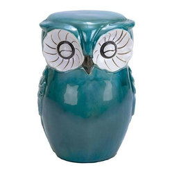 """Benzara - Long Lasting Ceramic Owl Shaped Stool with Sturdy Construction - Long Lasting Ceramic Owl Shaped stool with sturdy construction. A perfect choice for adding an interesting look to interiors, this ceramic owl stool features a trendy modern design that can complement contemporary settings well. It comes with a dimension of 13''W x 10""""D x 17 """"H. Some assembly may be required."""