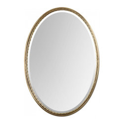 "Uttermost - Casalina Brass Oval Mirror - Plated, brushed brass finish with twisted metal rope detail. Mirror is beveled. Frame Dimensions: 22""W X 32""H X 1.75""D; Mirror Dimensions: 20.75""W X 30.75""H; Finish: Brass; Material: Metal,Glass, MDF; Beveled: Yes; Shape: Oval; Weight: 19 lbs; Included: Brackets, Ready to Hang"