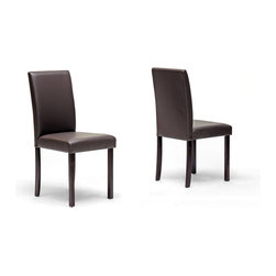 Baxton Studio - Baxton Studio Susan Brown Modern Dining Chair (Set of 2) - The Susan Dining Set's small size is perfect for apartments or breakfast nooks and when paired with the contemporary chairs, an elegant yet simple dining solution is the result. Sturdy wood construction on both the table and chairs is finished with a beautiful rich dark brown stain and veneer. Comfortable foam cushioning and dark brown faux leather on the chairs completes your new dining area. Assembly is required.