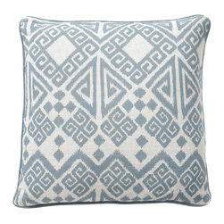 """Villa - Tangier Blue Pillow Set of 2 - Rich and expressive, the Tangier pillows assume the rich Moroccan style of their namesake. Iconic Greek key and chevron combine with geometric shapes to form their dynamic pattern in soft sky blue. 22"""" Sq; Set of two; 100% linen; Solid blue piping; Includes 95/5 feather down pillow insert; Hidden zipper closure; Hand wash"""