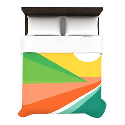 Beach Duvet Cover - The lustrous colors of a walk on the beach comes through in this duvet cover featuring an abstract depiction of the shore. Created out of a soft microfiber material, the duvets are extremely comfortable. With this on your bed, provide a stylish focal point in your bedroom that will have you dreaming of long afternoons by the sea.