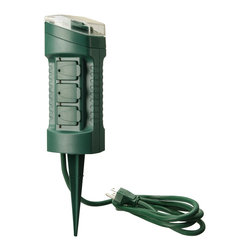 Coleman Cable - 6-Outlet Power Stake Timer - Outdoor 6-Outlet Yard Stake w/ Built in Timer. Automates holiday lighting and yard decorations, giving your home that lived in look.  Automatically on at dusk and off at dawn or programmable on at dusk and off 2, 4, 6, or 8 hours later.  6-grounded outlets with safety covers. Settings repeat daily.  6 ft. (1.8 M) 14/3 SJTW cord.  cETL Rated, CFL Compatible.  Color: Green. 125V, 15 Amp, 1875W Tungsten