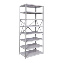Hallowell - MedSafe Antimicrobial Hi-Tech Starter Unit (36 W x 18 D x 87 H (106 lbs.)) - Size: 36 W x 18 D x 87 H (106 lbs.). Eight adjustable shelves. Open style with sway braces. Standard foot plate for strong and rigid anchor point. GREENGUARD Children and School certified. Warranty: One year. Made from rolled steel. Platinum color. Made in USA. Assembly required. Shelving with 350 lb. shelf capacity:. 48 in. W x 24 in. D x 87 in. H (152 lbs.). Shelving with 375 lb. shelf capacity:. 48 in. W x 12 in. D x 87 in. H (109 lbs.). 48 in. W x 18 in. D x 87 in. H (131 lbs.). Shelving with 500 lb. shelf capacity:. 36 in. W x 12 in. D x 87 in. H (89 lbs.). 36 in. W x 18 in. D x 87 in. H (106 lbs.). 36 in. W x 24 in. D x 87 in. H (124 lbs.)MedSafe Shelving brings together the specially formulated finish of our MedSafe lockers and the versatile storage of our Hi-Tech shelving system. The antimicrobial powder-coat finish provides protection against microbes such as bacteria, mold and mildew for up to 20 years making this versatile shelving ideal for schools and healthcare facilities.