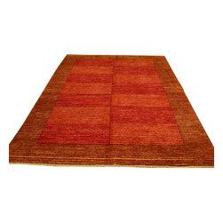 1800-Get-A-Rug - Modern Gabbeh Hand Knotted Rug Embossed Raised Sh12061 - About Modern & Contemporary