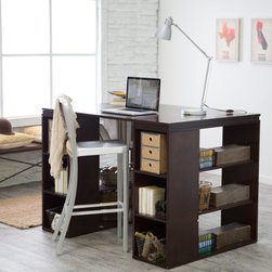 Belham Living - Belham Living Sullivan Counter Height Desk - Espresso Dark Brown - SHX806ES - Shop for Desks from Hayneedle.com! Whether your passion lies in sewing wrapping crafting working or dining the Belham Living Sullivan Counter Height Table - Espresso will make a wonderful asset. Durably constructed of MDF topped with wood veneers this table features two bookshelf-style ends for loads of storage. Use the open shelves to store wrapping paper bolts of fabric baskets or dishes. The narrower cubbies on the front are ideal for spools of ribbon art supplies flatware and more. There's no end to the uses for this table. The open design allows two people to work or dine at the same time or back it against a wall for a large work surface layout. The height of the tabletop means you won't have to bend over to work on projects and when you're ready to sit just pull up a counter-height stool. About Belham Living Belham Living builds catalog-quality furniture in traditional styles at a price that actually makes sense. By listening to our customers and working closely with great manufacturers we build beautiful pieces worthy of your home. Rich wood finishes attention to detail and stylish lines that tie everything together are some of the hallmarks of a Belham Living piece. From the living room or bedroom through the kitchen and out onto the deck there's something from an incredible Belham collection perfect for your style.
