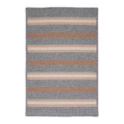Colonial Mills, Inc. - Salisbury, Gray Rug, 5'X8' - Light, neutral colors and natural textured fibers give this traditional braided rug a rustic cottage feel. It will love your natural wood and wicker furniture, especially pieces with straight, simple modern lines to echo the stripes.