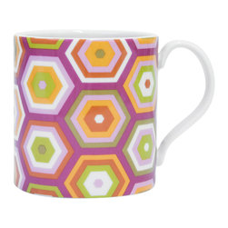 """Jonathan Adler - Jonathan Adler Carnaby Honeycomb Mug Pink - Final Sale - The Jonathan Adler Carnaby Honeycomb coffee mug awakens the kitchen table with mod style. Bright against white porcelain, colorful hexagons emit vibrant geometric flair. 4.5""""W x 3.5""""H; High-fired porcelain; Shades of pink, purple, green and orange; Microwave and top rack dishwasher safe"""