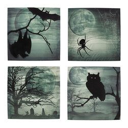 Zeckos - Set of 4 Spooky Night Printed Canvas Wall Hangings - This set of 4 canvases is the perfect addition to your collection of Halloween decor. Each one features a spooky scene with a big, full moon and fog. One of the canvases showcases a pair of bats, the next one has a spider dangling by its web, next is an owl on a tree branch, and the final one is a cemetery scene. They each measure 12 inches tall, 12 inches wide, 3/4 of an inch thick, and easily mount to any wall by the picture hanger on the back. This set looks wonderful any way you choose to display it, and makes a great gift for a friend.