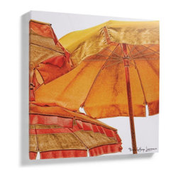 Grandin Road - Vintage Umbrella Outdoor Art I - Warm-hued, photographic-quality reproduction artwork for your outdoor wall. Printed using the giclée reproduction technique, so it closely resembles the artist's original. All-weather finish is made to withstand outdoor elements. Stretched over an all-weather hardwood frame. Each arrives ready to hang. The oversized views of sunny parasols in our Vintage Umbrella Outdoor Art will transport you to the beaches of the Italian Riviera. Each is a reproduction of the artist's original, printed on canvas and gallery-wrapped over an all-weather hardwood frame, so it's made to live beautifully outdoors. Select from two versions; each is sold separately. Together, both versions match up on one side to form a classic diptych.  . Printed using the giclee reproduction technique, so it closely resembles the artist's original .  .  .  . Display together as a diptych or individually; each sold separately .