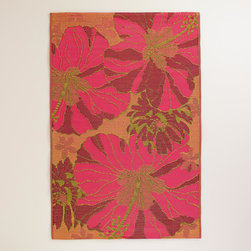 4' x 6' Red and Orange Hibiscus Rio Indoor-Outdoor Floor Mat - I'd be happy to have this colorful mat on hand for picnics or simply lounging on and soaking up the sun.