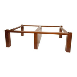 Pre-owned Elmwood Coffee Table Base - Solid wood base frame. Use with a glass top to make the perfect coffee table for your home. Glass not included.