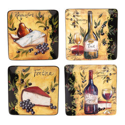 Certified International - Certified International Wine and Cheese Party Salad Plate (Set of 4) - Certified International is a leading manufacturer of ceramic tablewares. These hand-painted plates are attractive, functional and value priced allowing you to create a stylish tablesetting with coordinating kitchen accessories.