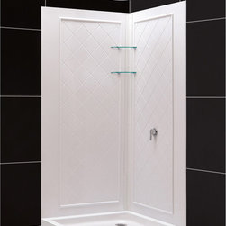 BathAuthority LLC dba Dreamline - SlimLine Neo Shower Floor & QWALL-4 Shower Backwalls Kit - DreamLine™ combines a SlimLine™ shower base with coordinating shower backwall panels to create a convenient kit that can transform a shower space. The SlimLine shower base incorporates a low profile design for a sleek modern look. The wall panels have a tile pattern and are easy to install with a trim-to-size fit. Both the shower panels and shower base are made from durable and attractive Acrylic/ABS advanced materials. DreamLine kits offer an ideal solution for any bathroom renovation project.