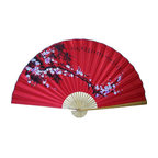 Oriental-Décor - Red Cherry Blossoms - The intricate detailing of this beautiful, hand-painted Oriental fan will fill your wall and gladden your heart each time you see the delicate spray of red cherry blossoms.
