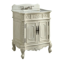 "Benton Collection - 30.75"" Unique Classic Ellenton Bathroom Sink Vanity #Hf080W-Aw - Give your bathroom an upscale appearance with this striking Bathroom Sink Cabinet. This piece is carefully handcrafted of sturdy wood. A smooth antique white finish brings out the luster of the cabinet, while enhancing the intricate carved acanthus leaf details. A beautiful hand-polished white marble completes the look for a sumptuous effect."