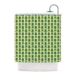 """Kess InHouse - Holly Helgeson """"Vintage Telephone"""" Green Pattern Shower Curtain - Finally waterproof artwork for the bathroom, otherwise known as our limited edition Kess InHouse shower curtain. This shower curtain is so artistic and inventive, you'd better get used to dropping the soap. We're so lucky to have so many wonderful artists that you'll probably want to order more than one and switch them every season. You're sure to impress your guests with your bathroom gallery in addition to your loveable shower singing."""