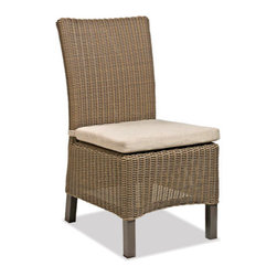 Thos. Baker - sanibel side chair - Crafted using fade-resistant nDura� all-weather wicker hand-woven over powder-coated aluminum frames, each piece in the sanibel collection boasts a transitional style that compliments both contemporary and traditional outdoor spaces.