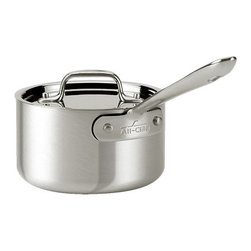 All-Clad - All-Clad MC2 - 3 1/2 qt. Sauce Pan (7203.5) - Use this All-Clad MC2 Master Chef 2, 3.5 quart sauce pan with lid to boils, simmer and sweat foods for rich stocks, gravies and sauces. The traditional straight sides let you move and stir food without spilling over. The long handle stays away from the cooking surface for safety, so you can focus on what's cooking in the pan. You'll love the way this cookware performs, and how easily it cleans.