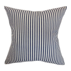 """The Pillow Collection - Neptune Stripes Pillow Marine 18"""" x 18"""" - Lend a positive energy to your living room, bedroom or kitchen with this stripes throw pillow. Style your interiors with a nautical-inspired theme and add this pillow to your sofa or bed. This accent pillow features alternating vertical stripes in marine blue and white hues. Pair this 18"""" pillow with solids like red, yellow and more. Made from 100% soft cotton fabric. Hidden zipper closure for easy cover removal.  Knife edge finish on all four sides.  Reversible pillow with the same fabric on the back side.  Spot cleaning suggested."""
