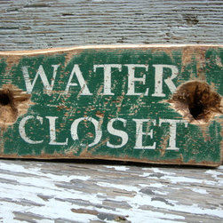 Water Closet Rustic Distressed Sign -