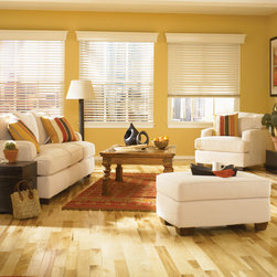 Wood Blinds | Rustic Living Room| White & Yellow | Southwestern Decor - Complete a rustic style living room with wood blinds.