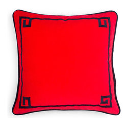 Embroidered Bamboo Pillow Cover, Scarlet/Navy - Jazz up your sofa or bed for the holidays and beyond with this red velvet pillow with Greek key trim.