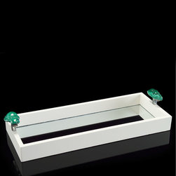 White Laquered Tray with Stone - Welcome the haut monde to your home with the White Lacquered Tray with Stone. The sleek lines, mirrored panel, and minimalist design impart an air of sophisticated urbanity to your gathering. Malachite tinted stones present a vivid contrast to the polished nickel handles, and a narrow raised rim allows for stylish containment of contents.
