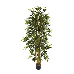 Nearly Natural - 6' Bamboo Tree - Projecting strength and elegance,this beautiful bamboo tree will lend a touch of character to your home. Featuring 6-foot tall reeds extending toward the sky covered with lush green leaves,this whimsical tree boasts of flourishing,peaceful nature.