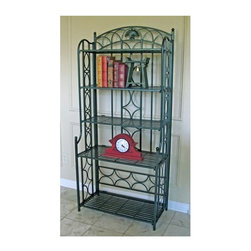 International Caravan - 5-Shelf Indoor/Outdoor Patio Baker's Rack in - Whether you're looking for extra space to showcase treasured china or pottery or want a place to showcase the results of your green thumb, this five-shelf iron baker's rack is a wonderful choice. Featuring decorative detailing throughout, the iron rack is a refined way to add storage to your home. Great for covered patios, formal dining rooms and kitchens. Heavy and stable. Dark Green Finish. 31 in. W x 16 in. D x 67 in. H (55 lbs.)
