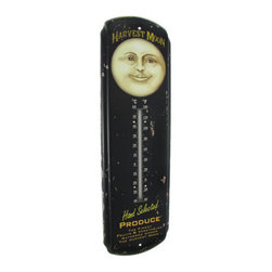 Vintage `Harvest Moon Produce` Sign with Thermometer - This metal sign and thermometer features an image of a `Harvest Moon,` advertising the finest fruits and vegetables. It measures 17 inches tall, 5 inches wide, 1 inch deep and the thermometer is marked in degrees Celcius and Fahrenheit. It has pre-drilled holes that make it easy to mount to any wall, and it is a great gift for that vegetarian friend of yours.