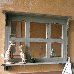 Distressed Blue Wood Mirror With Shelf - Distressed to a perfect shade of vintage blue, this entryway mirror combines function with cottage chic style by adding a shelf to display small decorative accents.