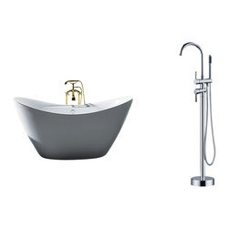 """AKDY - AKDY 67"""" AK-ZF210+8711 Europe Style White Acrylic Free Standing Bathtub+Faucet - AKDY free standing acrylic bathtubs come in many styles, shapes, and designs. The acrylic material used for tubs is very durable, light weight, and can be molded into a variety of shapes and styles which explain the large selection available in this product category. Acrylic free standing tubs are a cost efficient way to give your bathroom a unique beautiful touch. A bathtub is no longer just a piece of cast iron metal thrown into a bathroom by a builder."""