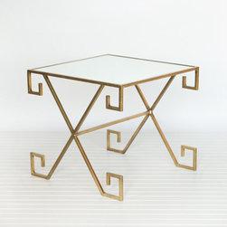 Athena Gold Leaf Greek Key Table - This mirrored gold leaf Greek key side table is sophisticated and elegant.