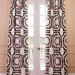 EFF - Mecca Printed Cotton Curtain Panel - The brown and white printed pattern of this stunning Mecca curtain panel will make a splendid addition to your home decor. This curtain is made of cotton,features a weighted hem and has a shade-enhancing lining.