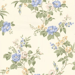 Graham and Brown - Cottage Garden Wallpaper - Buttermilk/Blue - Cottage Garden wallpaper - beautiful climbing roses adorn this amazing floral wallpaper that will look fantastic on any wall.
