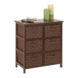 Honey Can DO - Storage Chest - 6-Drawer, Java - Our 6-Drawer Storage Chest, Java Brown. Getting organized has never looked better with this impressive double woven chest. This storage unit has six spacious drawers to hold clothes, tools, office supplies or anything else that needs tucked away. A natural wood top surface provides even more storage space and can double as a night stand.