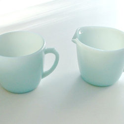Vintage Fire King Turquoise Blue Sugar And Creamer Set By Classic Memories - These vintage pieces come in a beautiful blue. I love the way the light catches this creamer and sugar set.