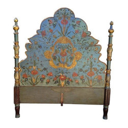 "Custom Painted Queen Size Bed Frame - This bedframe was commissioned from Mr. Rossi of San Francisco. It is a replica of an Italian centuries old bed, complete with distressed wood and intentional cracks. The colors are stunning and the spires on the headboard and footboard add elegance.   This is a queen-size bed frame. Dimensions are 66.5"" wide and 80"" long (inside dimension). The headboard is 75 inches tall, with the design starting 22.5 inches from the floor."