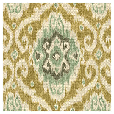 Tan & Aqua Ikat Medallion Fabric - Golden beige, seafoam & aqua medallion textured cotton ikat on cotton makes way for an eclectic tribal sensation.  Humble abode to opulent oasis?Recover your chair. Upholster a wall. Create a framed piece of art. Sew your own home accent. Whatever your decorating project, Loom's gorgeous, designer fabrics by the yard are up to the challenge!
