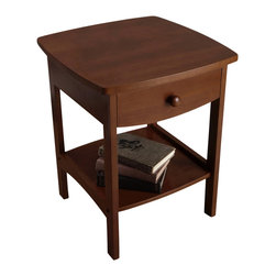 Winsome Wood - Winsome Wood Curved End Table/Nightstand w/ One Drawer - Elegantly simple, this night stand has room for all the necessary nighttime accessories. Its curved, smooth design blends well with any style of bedroom decor. End Table (1)