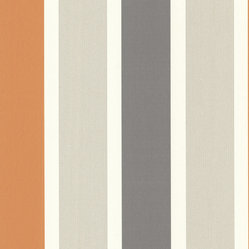 Decorline - Decorline Geometrics Stripe Wallpaper, Orange, Bolt - A posh striped wallpaper design in cream, dark grey, tangerine and silver. Embellished with glitter ink, this design is high fashion and sophisticated. Each wallpaper bolt is 20.5 inches wide and 33 feet long, covering about 56 square feet. The pattern has a no repeat and a Random match.